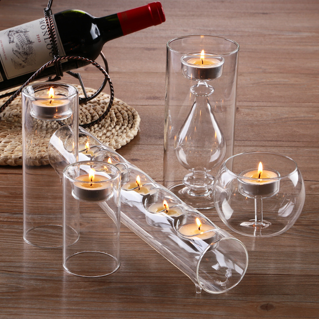 New Fashion 5 Pcs Set Modern Glass Candle Holders Table