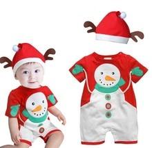 2017 New Year Baby Boys Christmas Clothes 2pcs short sleeve snowman romper Santa Hat xmas boy