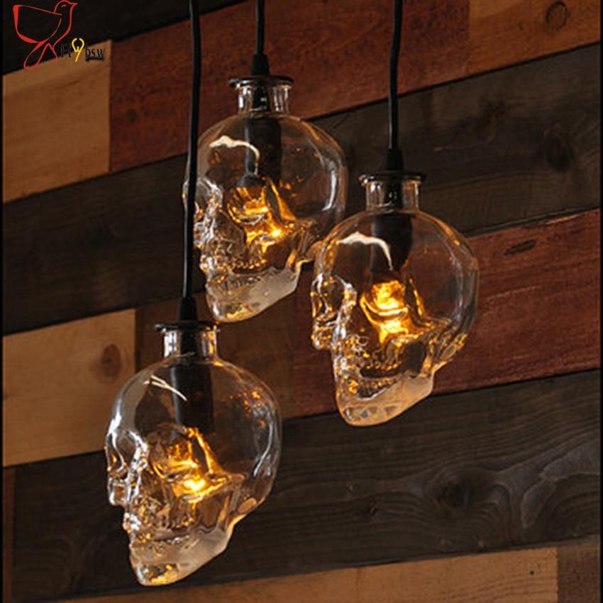 1 light Retro Skull Clear Glass Pendant Light Fixture E14 holder Skull Ghost Glass bottle creative