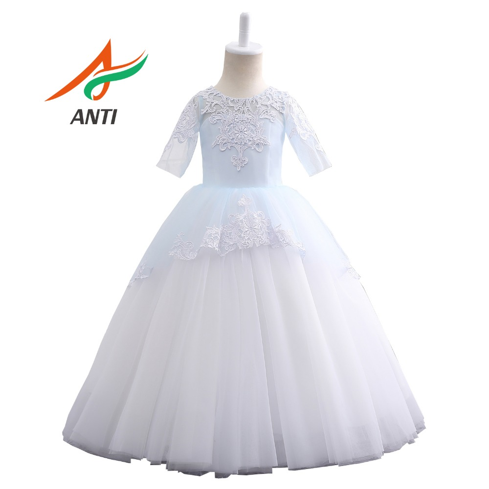ANTI Romance Navy Blue Organza   Flower     Girl     Dress   Half-Sleeve Embroidered Floor Length Princess Child First Communion   Dress
