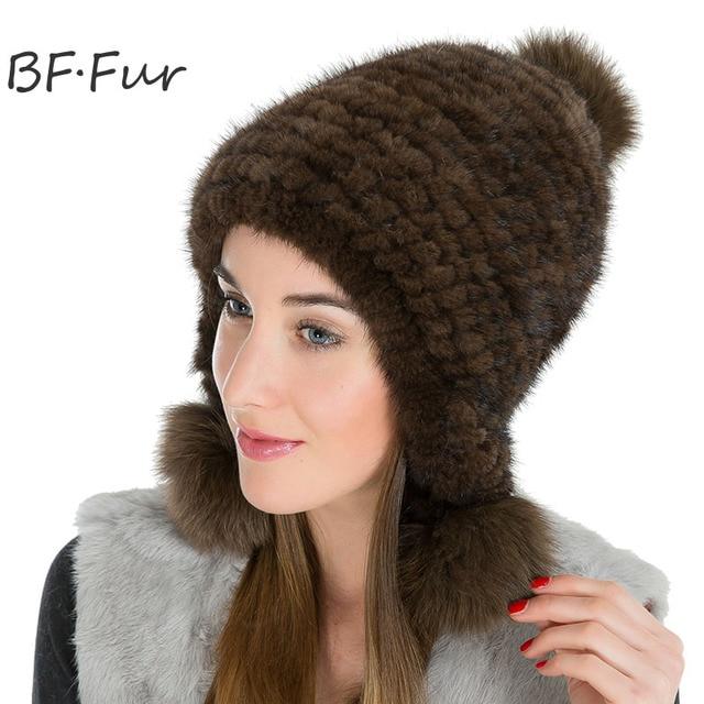 BFFUR Real Mink Fur Hat Russian Women Winter Warm Adult Cap Female Animal  Pompom Ball Solid Color Beanies Ladies Fashion Bonnet 48cb25c79da4