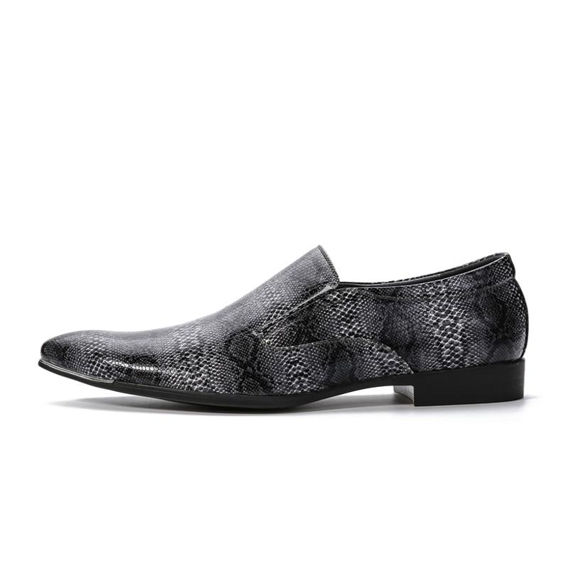 Men Snake Print Dress Shoes 2016 Spring New Original Design Fashion Black Skin Pattern Wedding
