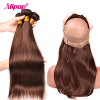 Brazilian Straight Hair Light Brown Colored Bundles With Closure Frontal Human Hair 360 Lace Frontal With Bundles Alipop NonRemy