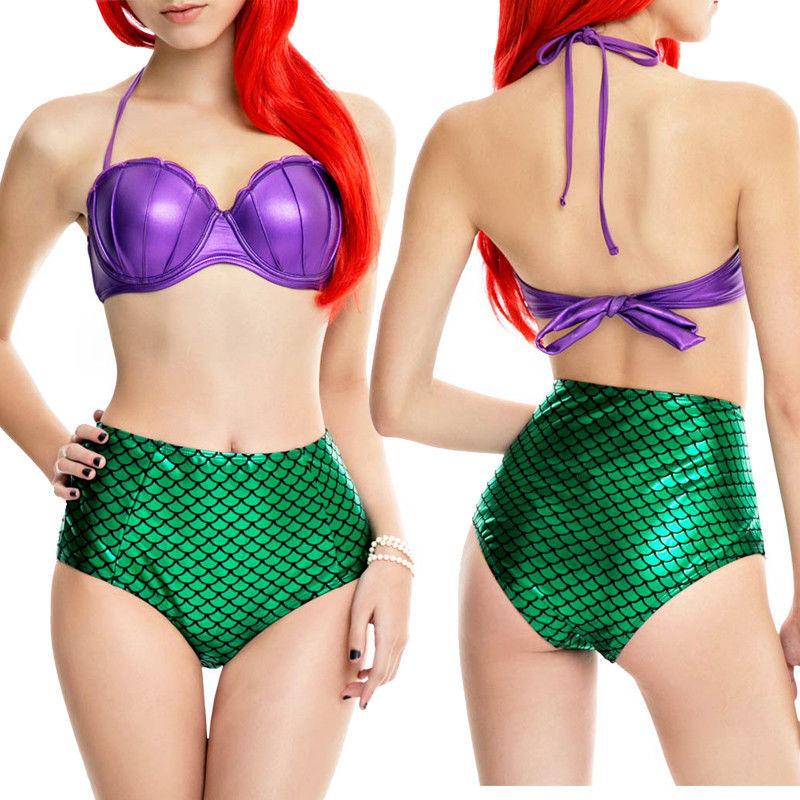 Meerjungfrau Bikini Set Frauen Push-Up Hohe Taille Badeanzug Bikinis Frauen Schwimmen Tragen Cosplay Badeanzüge Schwimmen Tragen