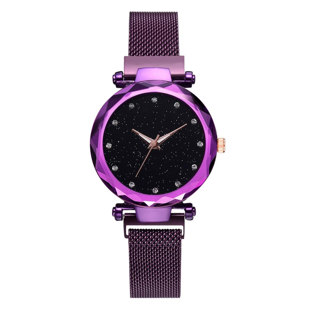 Top Brand Watches For Women Rose Gold Mesh Magnet Buckle Starry Quartz Watch Geometric Surface Casual Women Quartz Wristwatch 5