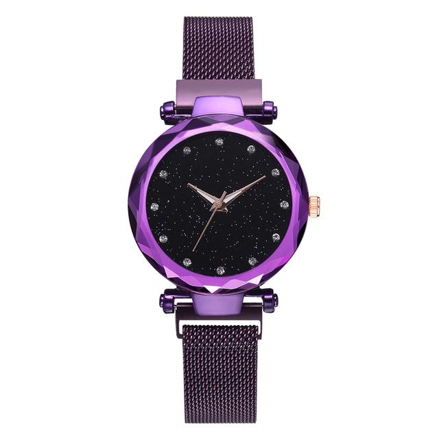 Top Brand Watches For Women Rose Gold Mesh Magnet Buckle Starry Quartz Watch Geometric Surface Casual Women Quartz Wristwatch