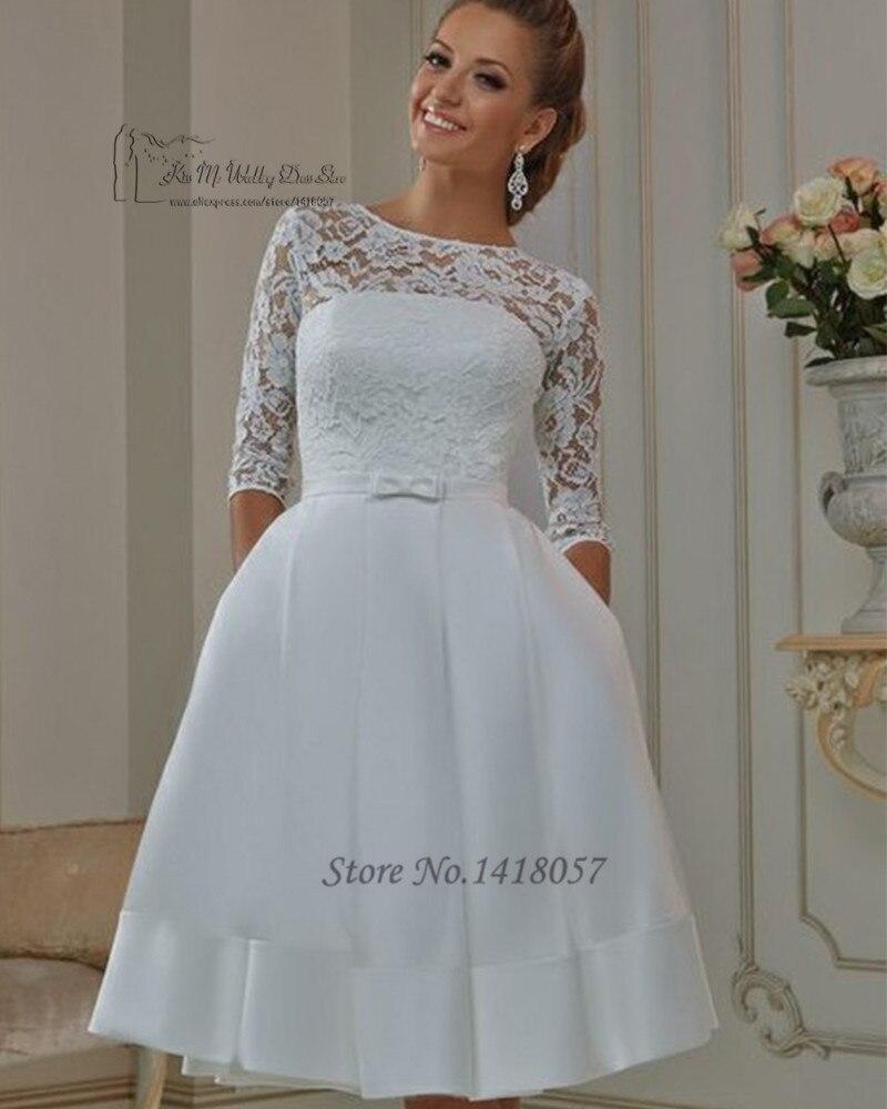 Modest Cheap Short Wedding Dress Plus Size 2016 Vestido de Noiva Curto Lace Bridal Dresses Gowns Half Sleeve Jewel Knee Length