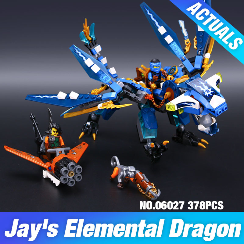 LEPIN 06027 Ninjagoes Jay's Elemental Dragon Building Block Set Jay Cyrene Monkey Toy Compatible with 70602