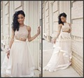 Formal Beaded Crop Top Two Piece Prom Dress Sleeveless 2017  Prom Dress Lovely Crop Top 2 Piece Prom Dresses