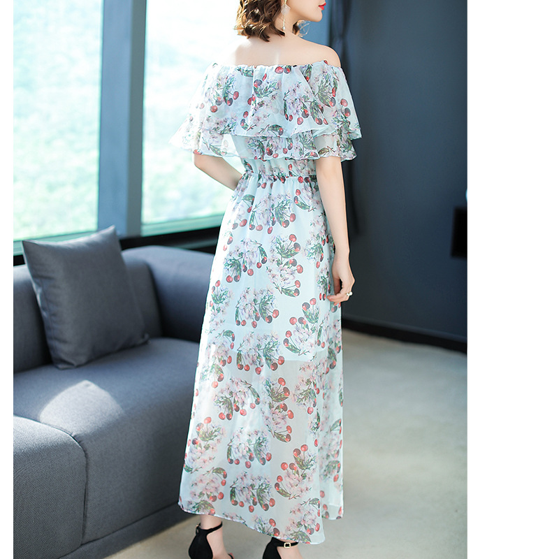 Vestidos Europe 2018 Summer Maxi Dress Women Ukraine Dressses New Slash Neck Cherry Printing Chiffon Beach Dress Plus Size