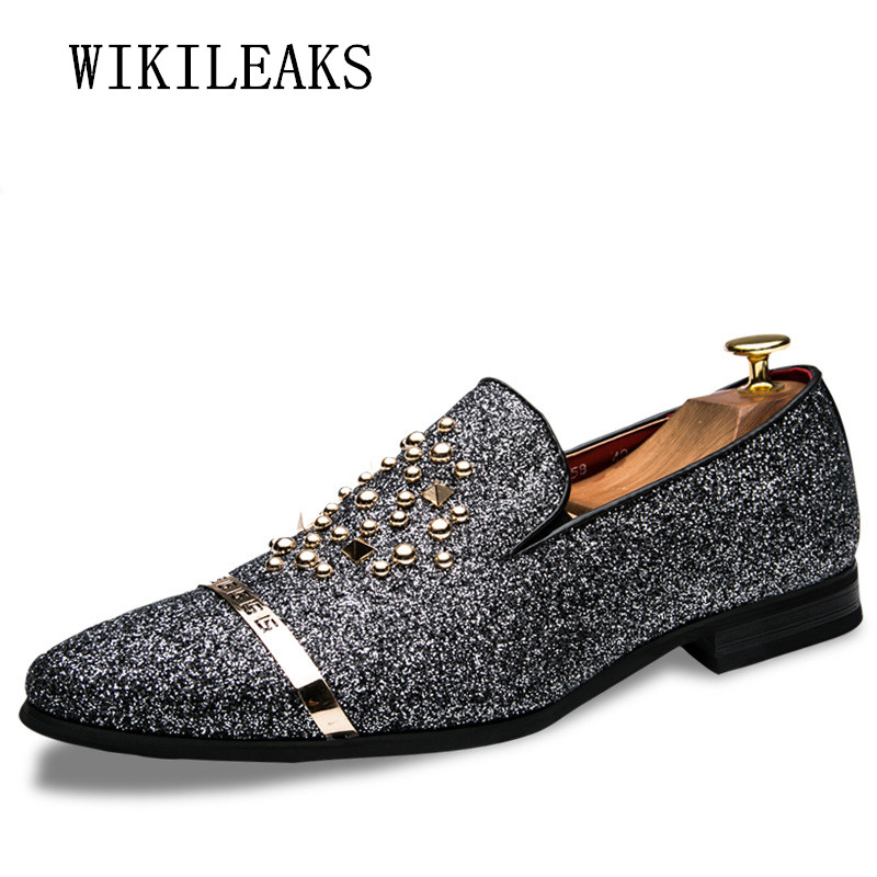Luxury Brand Men Dress Shoes Sequined Cloth Formal Business Men Oxfords Shoes For Men We ...