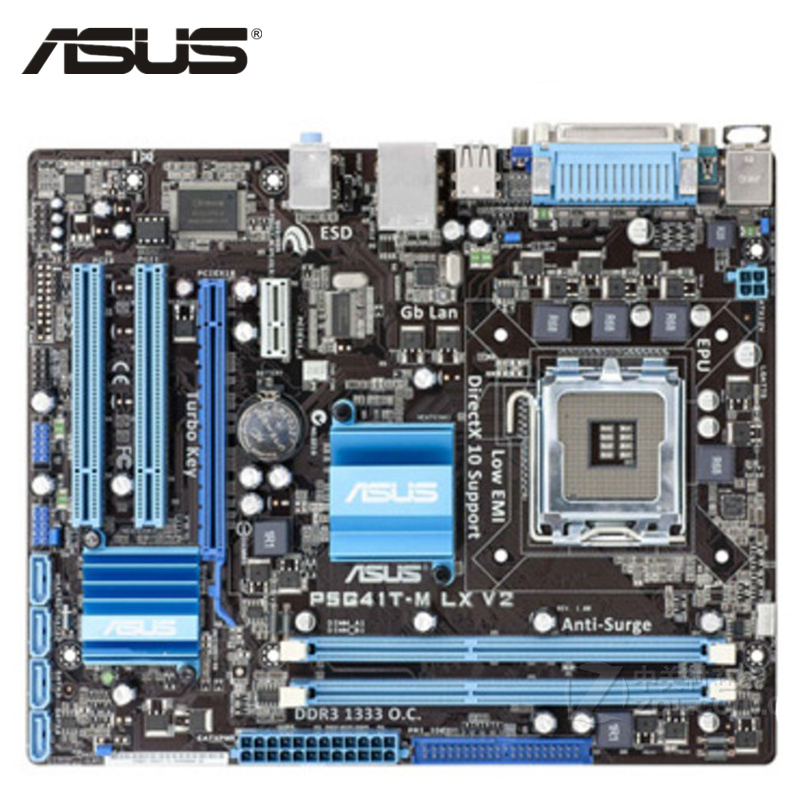ASUS P5G41T M LX V2 Motherboard LGA 775 DDR3 8GB For Intel G41 P5G41T M LX V2 Desktop Mainboard Systemboard PCI E X16 Used-in Motherboards from Computer & Office