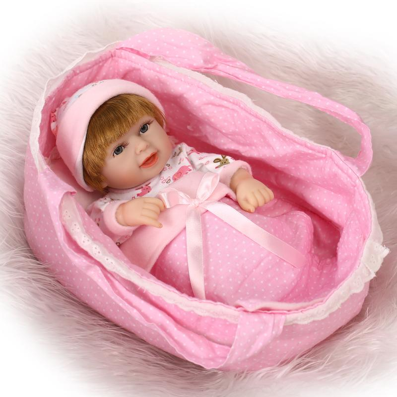 NPKCOLLECTION Mini Reborn Baby Doll 10 inch Full Body Vinyl Baby Alive Toys Girls Gift Basket Pillow Blankets OutfitNPKCOLLECTION Mini Reborn Baby Doll 10 inch Full Body Vinyl Baby Alive Toys Girls Gift Basket Pillow Blankets Outfit