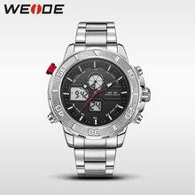 купить Hot WEIDE men watches top brand luxury men watch stainless steel date digital led relogio masculino saat water resistant по цене 1285.64 рублей