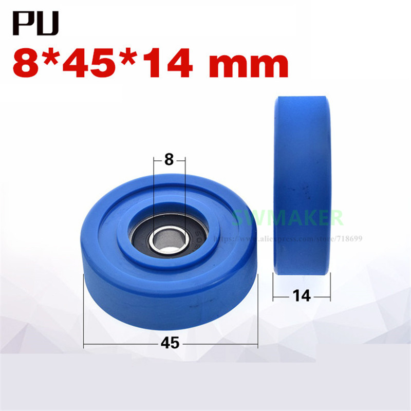 1pcs 8*45*14mm 608RS Bearing Rubber Wheel/guide Wheel/flat Roller, PU Polyurethane Pulley, Silent Mechanical Pulley