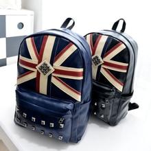 Женский рюкзак из кожи с заклепками, национальный флаг, винтажные школьные рюкзаки в английском стиле, дорожная сумка, рюкзаки Mochila