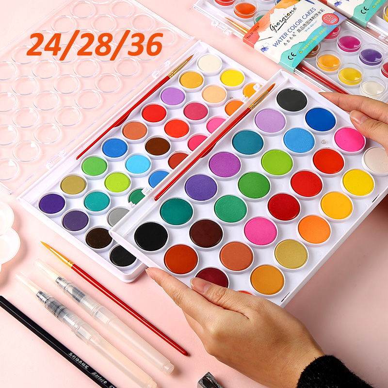 24/36colors Solid Waterolor Paint Set Bright Color Portable Watercolor Pigment Set For Drawing  Painting Art