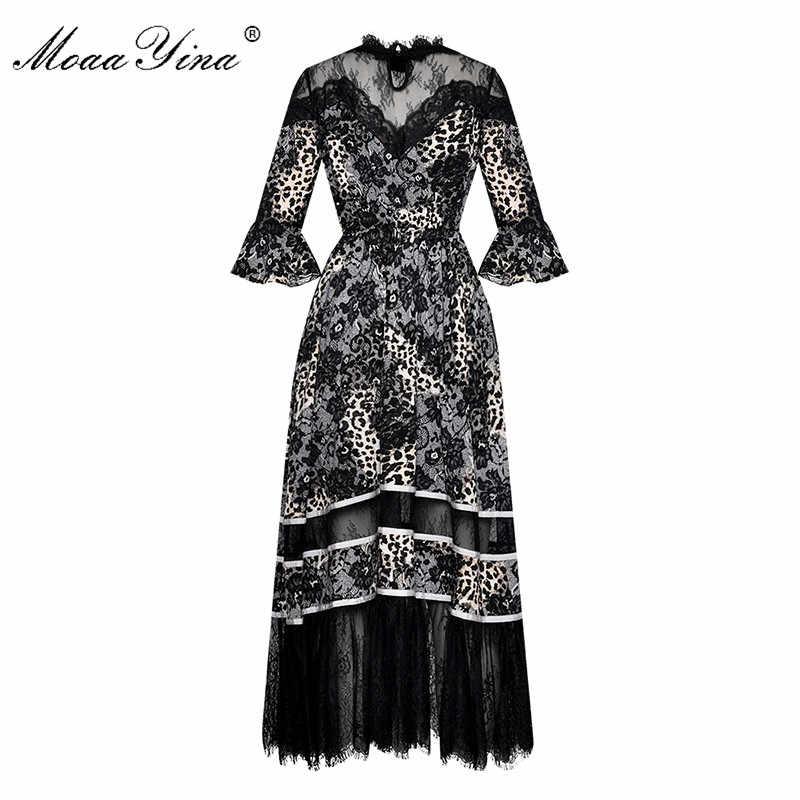 MoaaYina мода Дизайнер взлетно-посадочной полосы летнее платье женское платье с расклешенным рукавом кружевной воротник блесток Кристалл с леопардовым принтом Платья