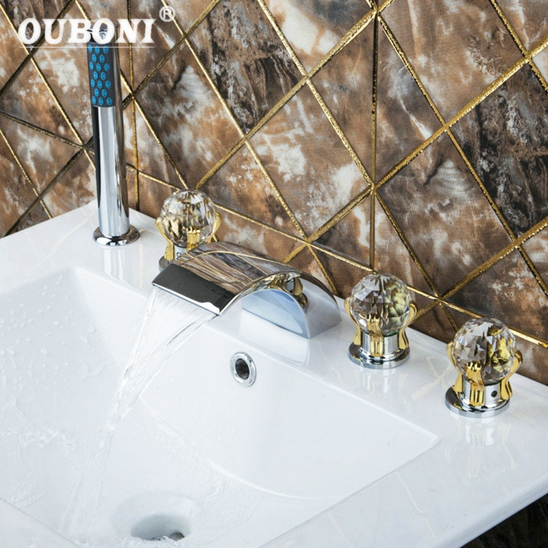 Bathroom Sink Chrome Diamond Golden Hand+Waterfall Spout Brass Body+Handheld Shower 5pcs Bathtub Mixer Tap Faucet Set chrome brass finish 5 pcs long spout waterfall bathtub sink tap bathroom mixer hand held tub mixer faucet set