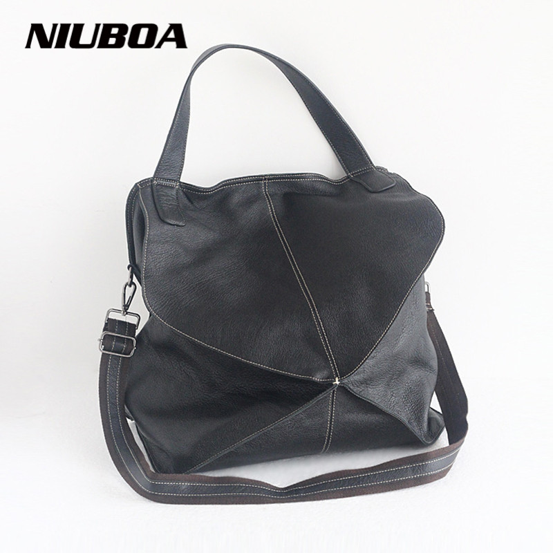 NIUBOA New 100% Genuine Leather Bags Personal Design Fashion Women Cowhide Tote Female Large Capacity Skin Leather Shoulder Bags niuboa genuine leather shoulder bags 100