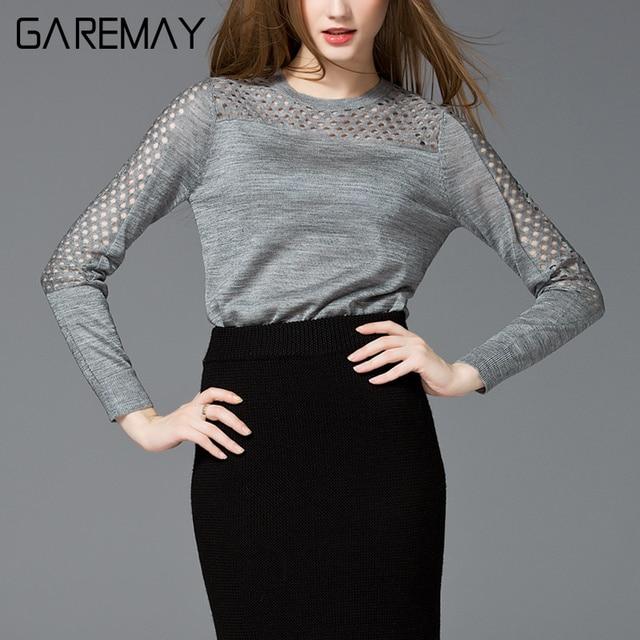 Women Sweater Long-sleeved Pullovers 2017 Elegant Slim Knitting Blouse Workwear Fashion Sweater Female Top Ladies Jumper GAREMAY