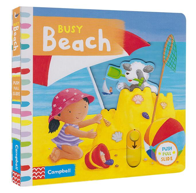 Campbell Busy Beach Push Pull Slide Movable Mechanical Book English Picture Flap Board Book Baby Kids Early Education Toy