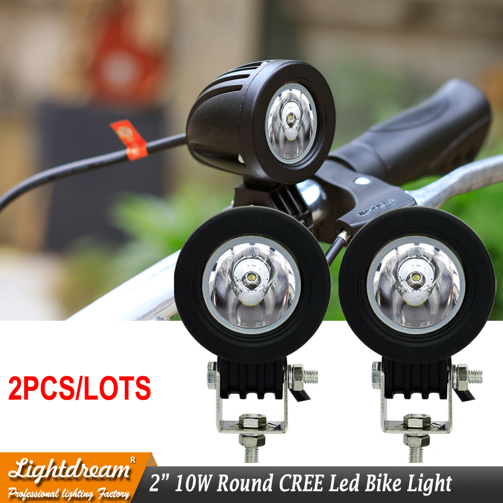 Led bike light 10W Round Led Motor work light 2 inch 12V 24V Super bright spot flood led headlight used for boat car x2pcs