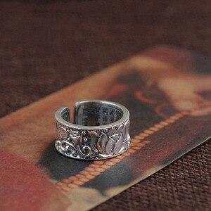 Image 3 - BALMORA ريال 999 الفضة النقية لوتس زهرة البوذية سوترا المفتوحة خواتم للنساء الرجال هدية الدينية ريترو مجوهرات الأزياء Anillos