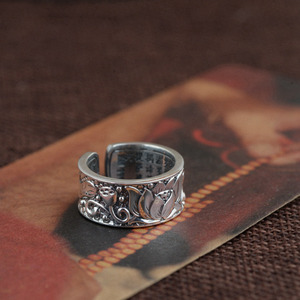 Image 3 - BALMORA Real 999 Pure Silver Lotus Flower Buddhism Sutra Open Rings for Women Men Gift Religious Retro Fashion Jewelry Anillos