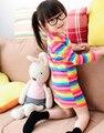 2016 novo vestido da menina meninas do arco-íris de impressão marca crianças primavera roupas novo vestido de princesa para as meninas do bebê clothting disponível