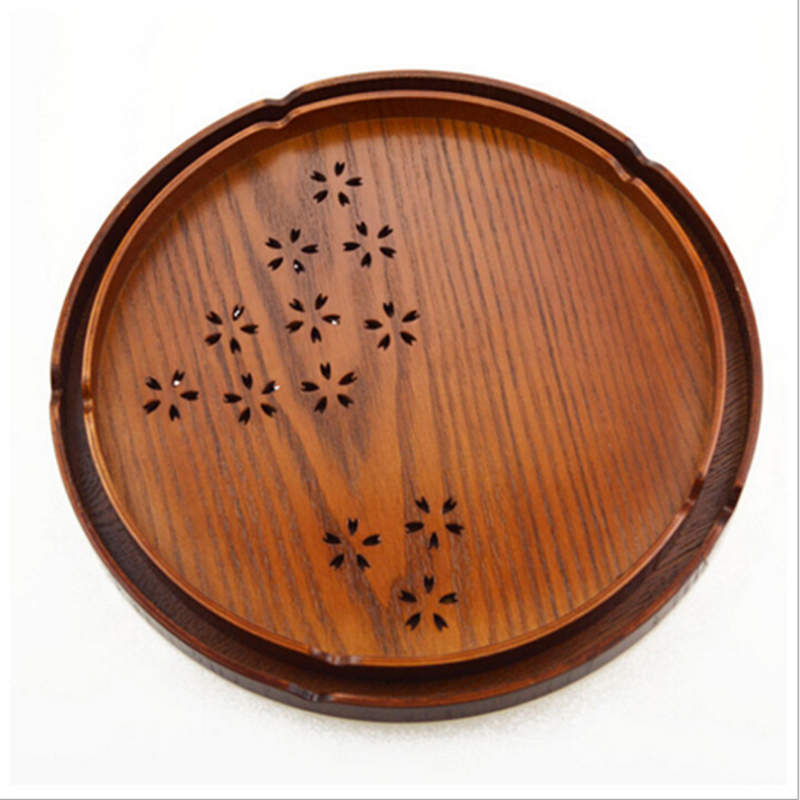 Japanese Style Woode Tray Cherry Shaped Hollow Out Round Food Plate Cinnamomum Septentrionale Hand Wood With