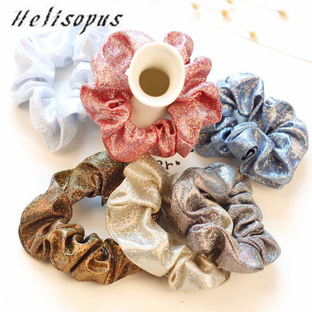 Helisopus Fashion New Women Simple Hairband Rope Korean Shiny Scrunchie Elastic Hair Bands Girls Hair Accessories