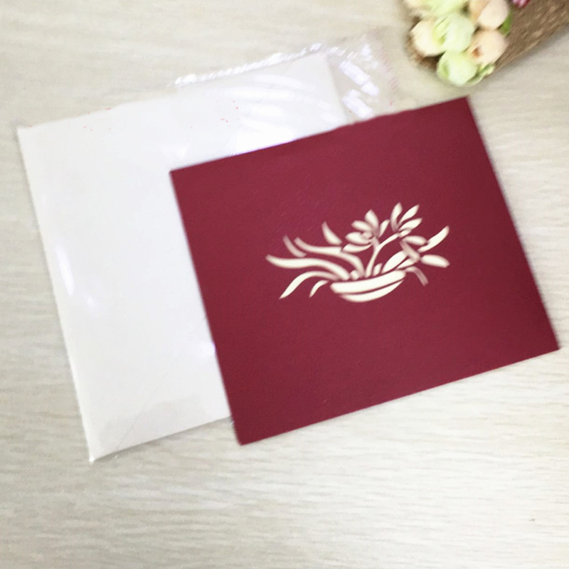 1pcs Sample 3D Laser Cut Paper Greeting Pop Up Kirigami Card orchid Wedding Invitation Birthday Valentine's Day Postcards Gifts (4)