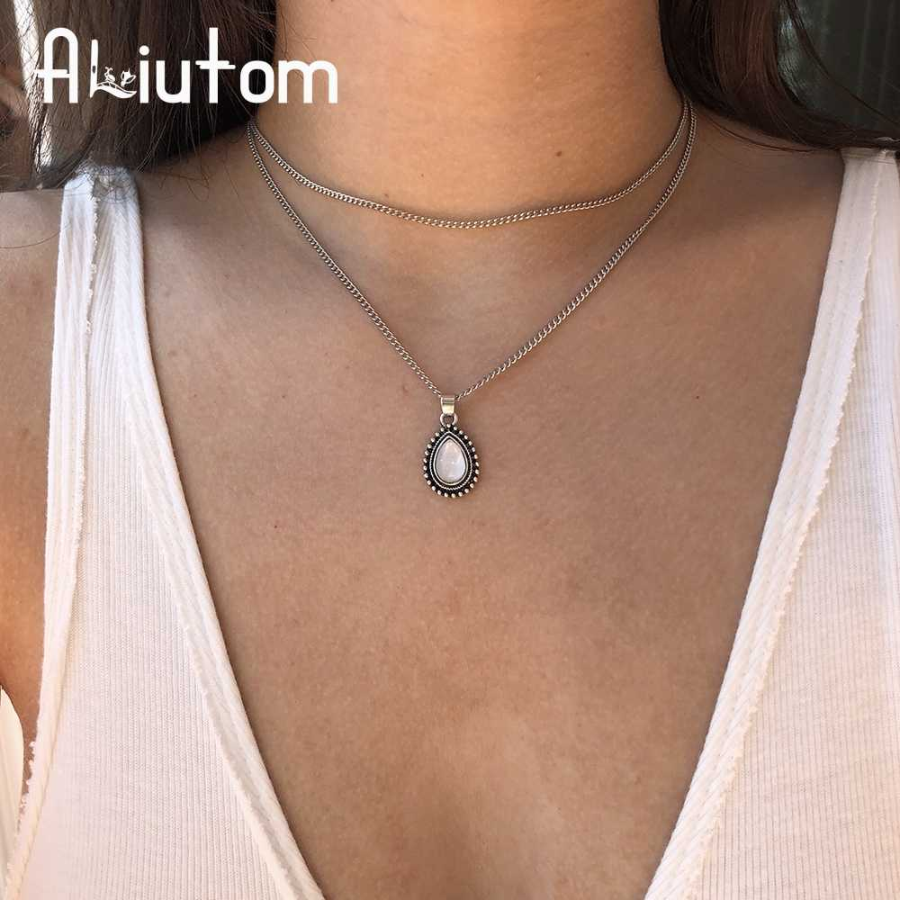 ALIUTOM Vintage Bohemian Double Drop of Water Pendant Choker Necklace 2018 Fashion Women's Jewelry Gift