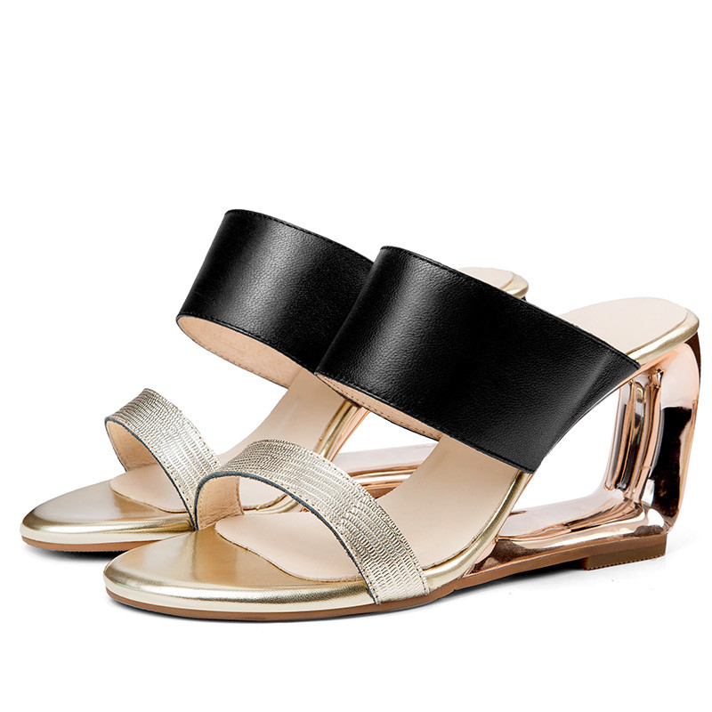 Memunia 2019 새로운 패션 스타일 여성 샌들 혼합 색상 정품 가죽 신발 숙녀 슬립 독특한 웨지 파티 신발 여자-에서하이힐부터 신발 의  그룹 3