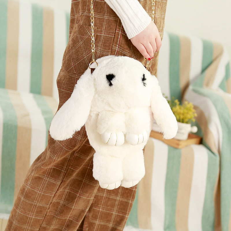 Miaoowa New 33cm fashion girl fur cape hare wool chains handbag women's casual plush dead eyelash rabbit messenger bag Gift