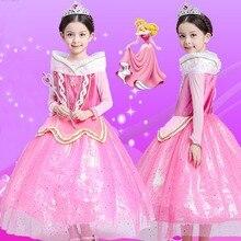 GuaGuaEgg 2016 Девушки Hallowmas Этап Платья Принцесса Эльза Косплей Выполнение Платье С Длинным Рукавом Партия Принцессы Полный Платье