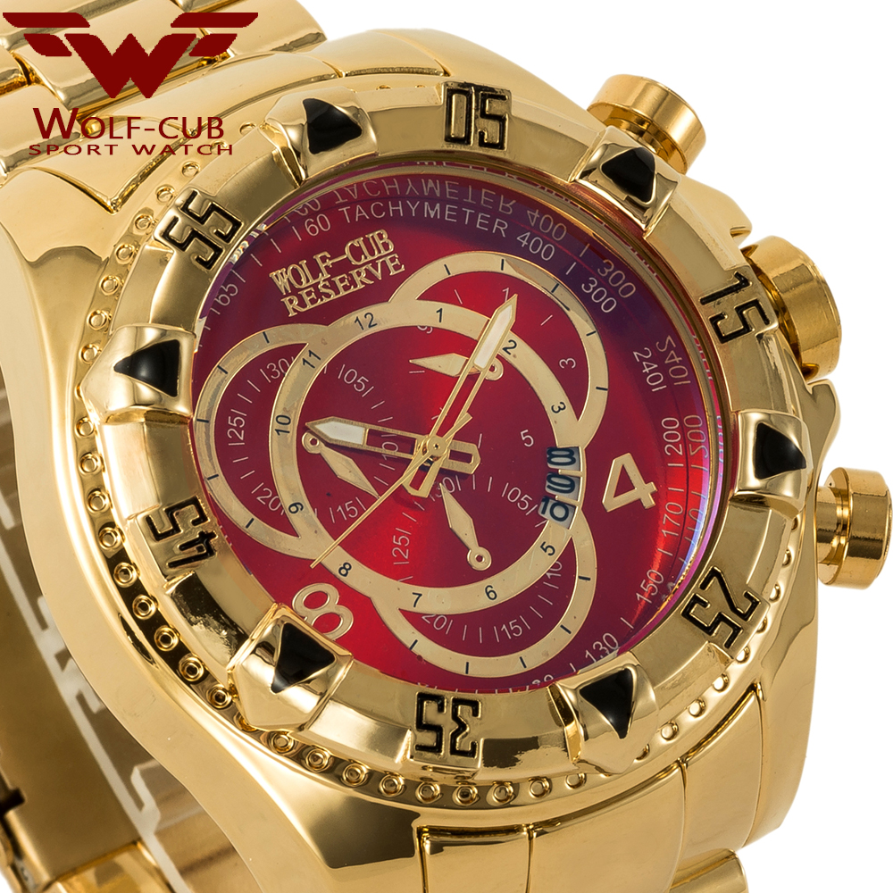 Luxury Men Calendar Large Dial Watches 3 Sub Decoration Dials Round Commerce Business Watch USA  WOLF-CUB Gold Black Blue White
