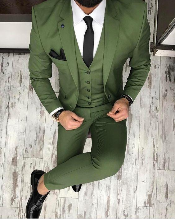 Handsome Two Buttons Olive Green Groom Tuxedos Notch Lapel Groomsmen Men Blazers 3 pieces Suits (Jacket+Pants+Vest+Tie) NO:276