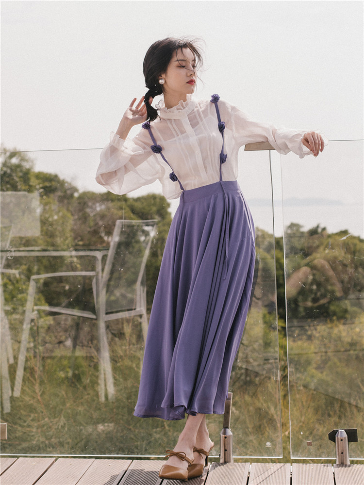 Ubei New French vintage skirt set white shirt nifty two-piece sets minority suits women fashion