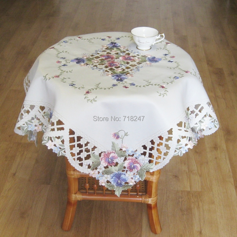 New hot 85 85cm elegant polyester satin embroidery floral for 85 inch tablecloths
