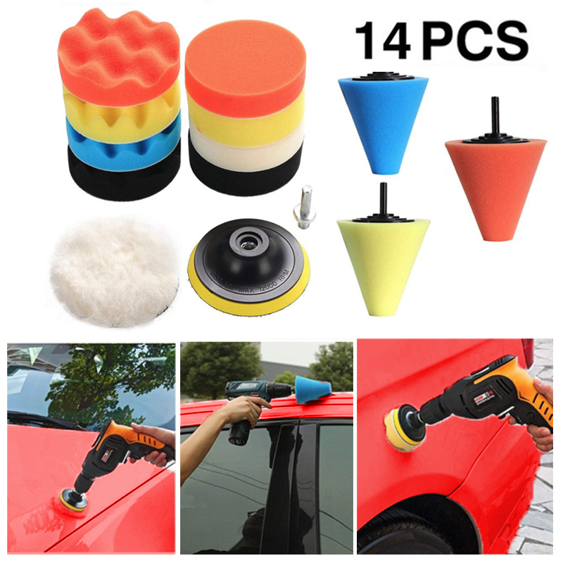 14pcs/16pcs Polishing Kit Buffing Pad 1/3''/6mm Wheel Polishing Cone Car Body Wheels Care Car Styling Foam Brushes Cleaning