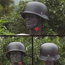 Unisex Retro half Motorcycle Helmets Matte Black German Half Face Helm