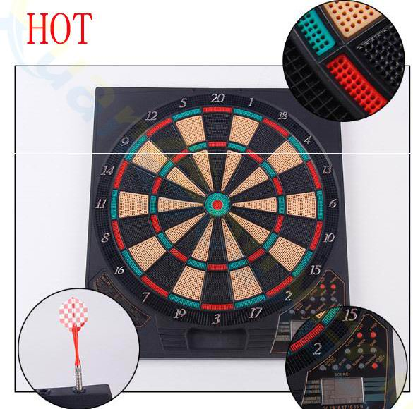 18inch Electronic Dartboard Darts Game Set Automatic Scoring Dart Plate Board Sound Prompt Office Family Toys 156game 1LED6 Dart