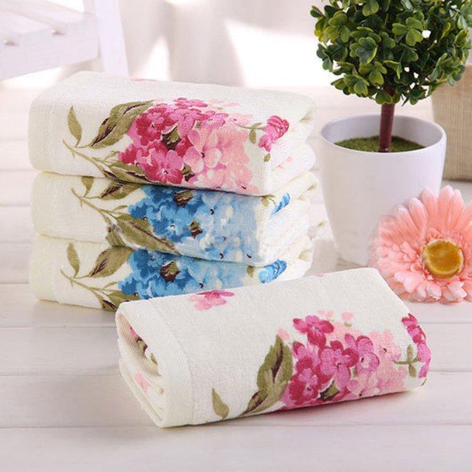 Jzgh 33 73cm 4pcs Floral Cotton Terry Hand Towels Set