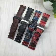 Correa De Reloj inteligente Para Garmin Fenix 3 Calidad del Cuero Genuino de correas de Reloj de 26mm Para Hombre Negro reloj Retro accesorios