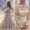 2017 Vestidos De Novia Lace Manga Comprida Vestidos de Noiva Champagne Vestidos de noiva Robe De Soirée A Linha Sheer Neck Tribunal trem