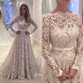 2017 Vestidos De Novia Long Sleeve Lace Wedding Dresses Champagne Bridal Gowns Robe De Soiree A Line  Sheer Neck Court Train