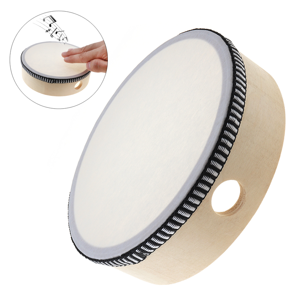 6 Inch Portable Musical Tambourine Drum Round Percussion Sheepskin Drums for Kids Games Wooden Ring Durable Tambourine