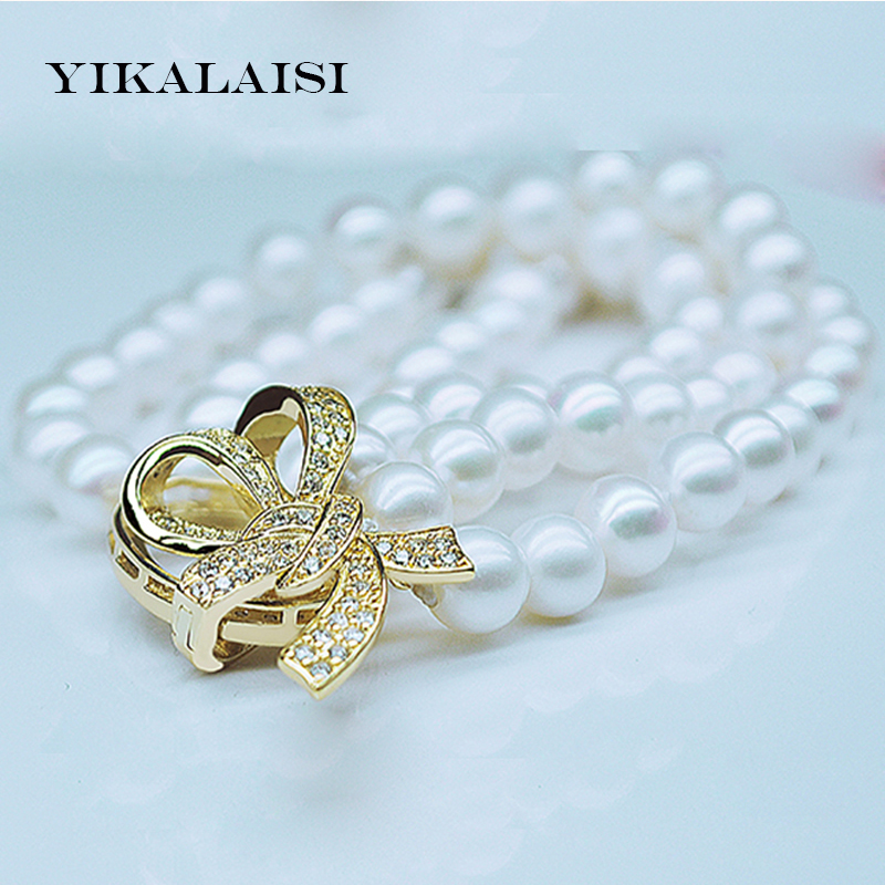 YIKALAISI 2017 New Three Strand Pearl Bracelet 100% Natural Pearl jewelry 7-8 mm Perfect Round Pearl Bracelet For Women elegant rhinestoned bowknot three layered faux pearl necklace and bracelet for women